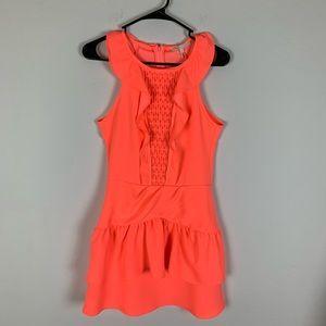 Maje Neon Rose Ruffle Dress